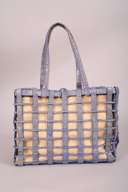 Brown Nancy Gonzalez Blue Woven Crocodile and Natural Straw Bag For Sale