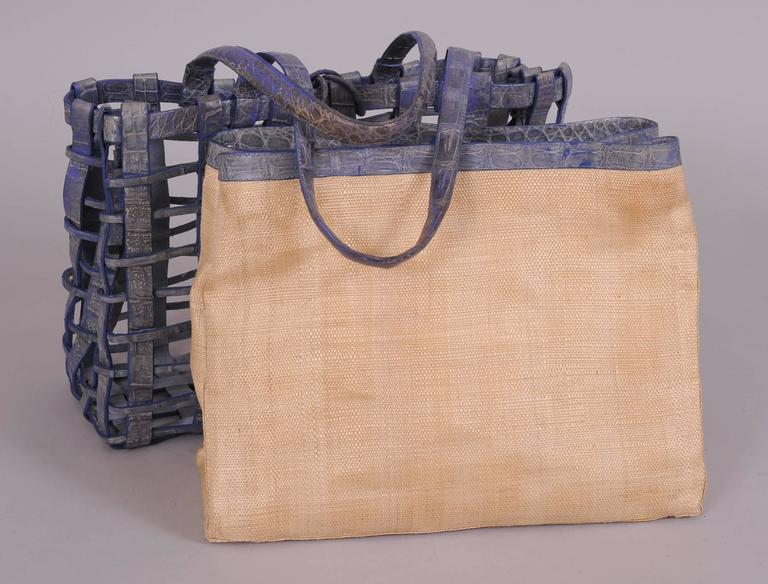 Nancy Gonzalez Blue Woven Crocodile and Natural Straw Bag In Excellent Condition For Sale In New Hope, PA