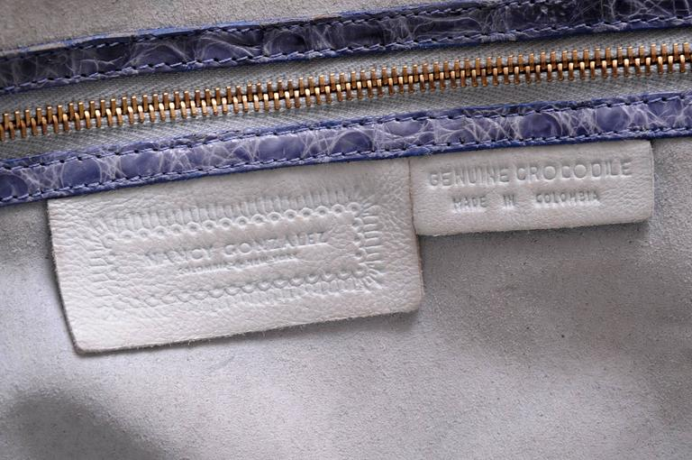 Nancy Gonzalez Blue Woven Crocodile and Natural Straw Bag 5