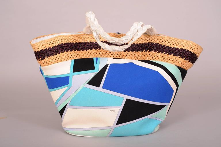Pucci Colorful Leather, Straw and Linen Tote or Beach Bag 2