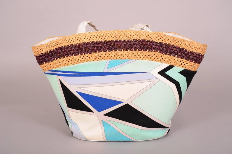 Pucci Colorful Leather, Straw and Linen Tote or Beach Bag 3