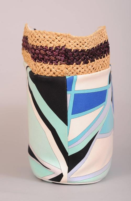 Pucci Colorful Leather, Straw and Linen Tote or Beach Bag 4
