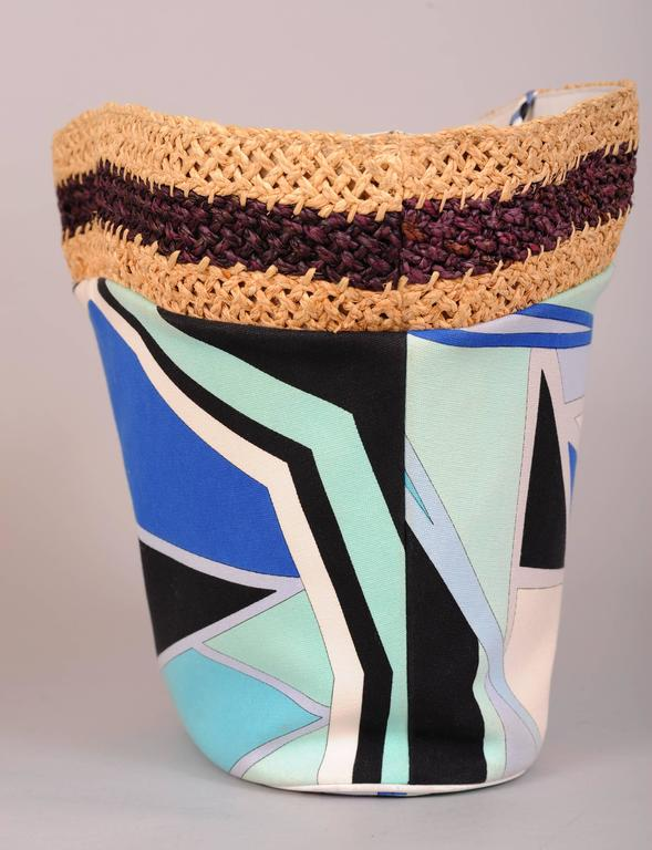 Pucci Colorful Leather, Straw and Linen Tote or Beach Bag 5