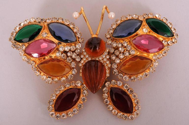 William De Lillo Large Colorful Jeweled Butterfly Pin 4