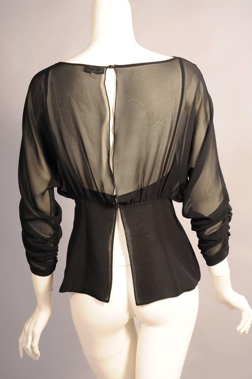 Karl Lagerfeld Black Silk Chiffon Blouse In Excellent Condition For Sale In New Hope, PA
