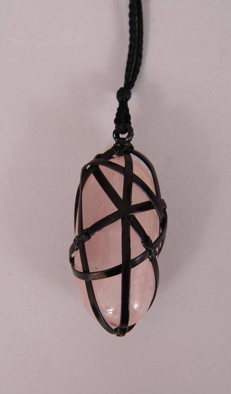 Rare Tina Chow Bamboo Wrapped Rose Quartz Pendant For Sale 3