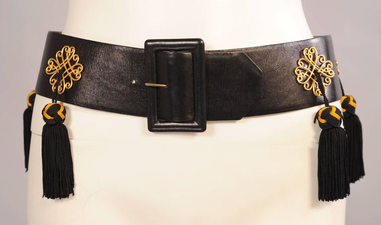 Women's Isabel Canovas Black Leather Belt with Black and Gold Silk Tassels For Sale