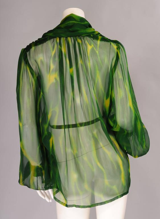 Givenchy Haute Couture Sheer Patterned Silk Chiffon Blouse 4