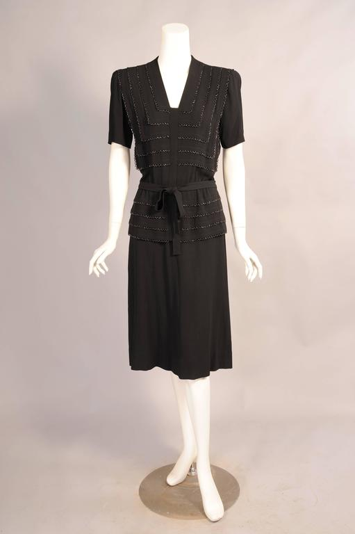 1940's Larger Size Beaded Black Crepe Evening Dress 2
