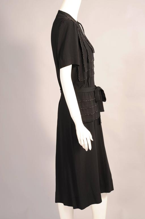 1940's Larger Size Beaded Black Crepe Evening Dress 3