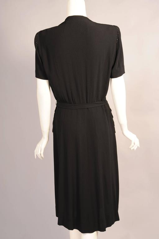 1940's Larger Size Beaded Black Crepe Evening Dress 4
