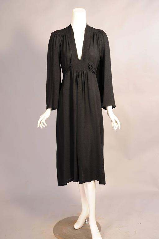 Ossie Clark Black Moss Crepe Dress 2
