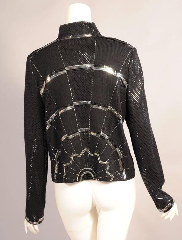 St. John Black Wool Jacket with Art Deco Inspired Silver and Black Decoration In Excellent Condition For Sale In New Hope, PA