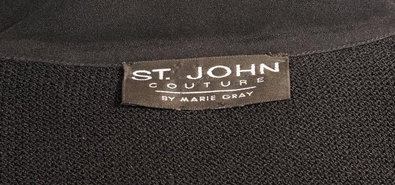 St. John Black Wool Jacket with Art Deco Inspired Silver and Black Decoration 4