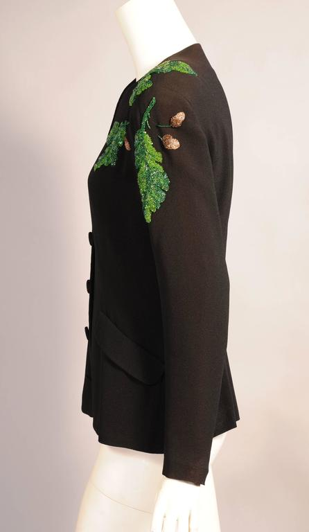 1940's Black Crepe Jacket, Beaded Oak Leaf Decoration In Excellent Condition For Sale In New Hope, PA