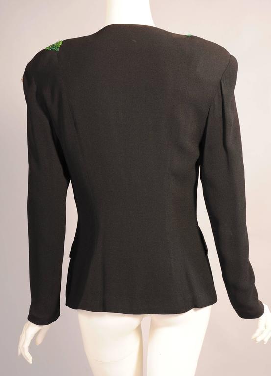 1940's Black Crepe Jacket, Beaded Oak Leaf Decoration 4