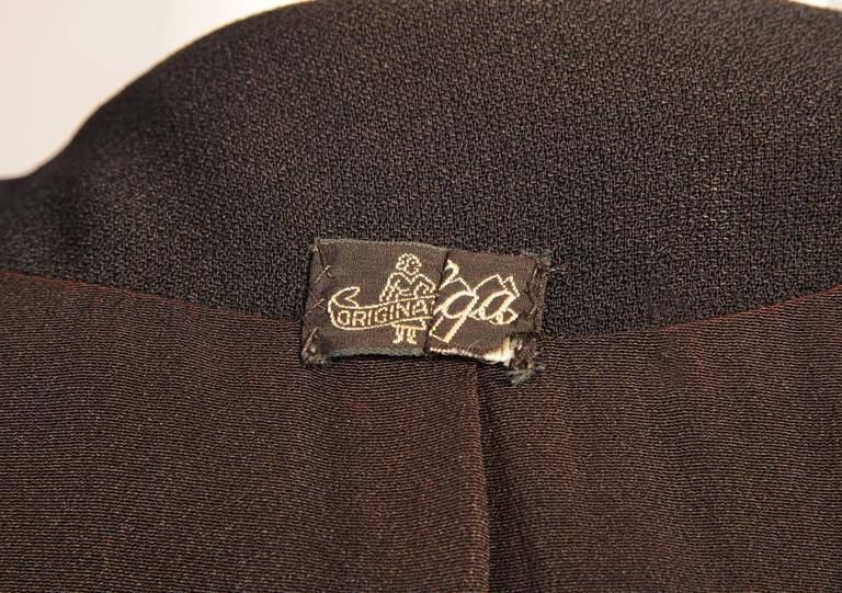 1940's Black Crepe Jacket, Beaded Oak Leaf Decoration 5
