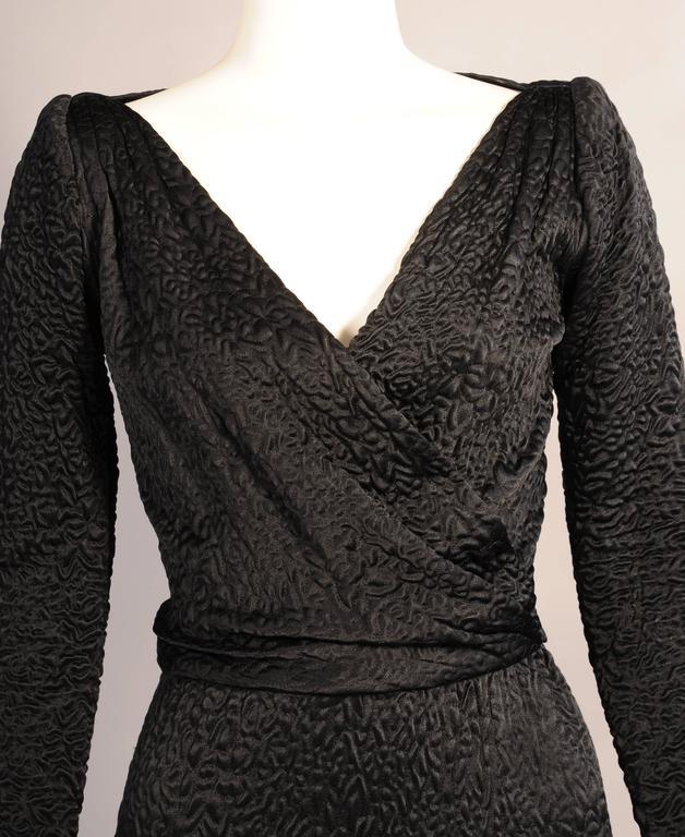 Givenchy Haute Couture Black Silk Cloque Evening Dress 2