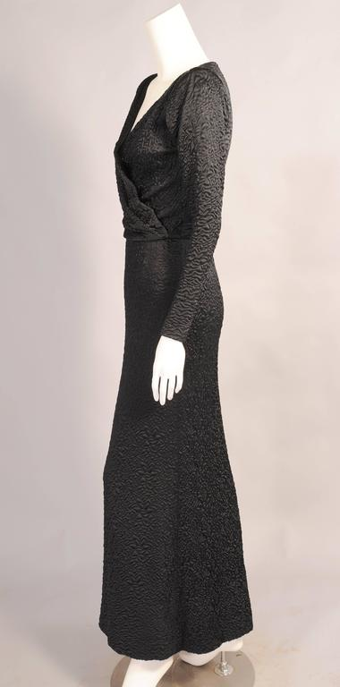 Givenchy Haute Couture Black Silk Cloque Evening Dress In Excellent Condition For Sale In New Hope, PA