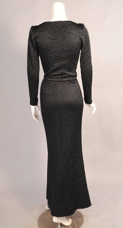 Givenchy Haute Couture Black Silk Cloque Evening Dress 4