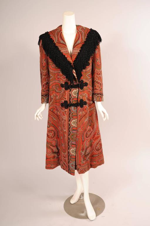 Colorful Hand Made Paisley Shawl Coat with Black Silk Fringe, circa 1910 2