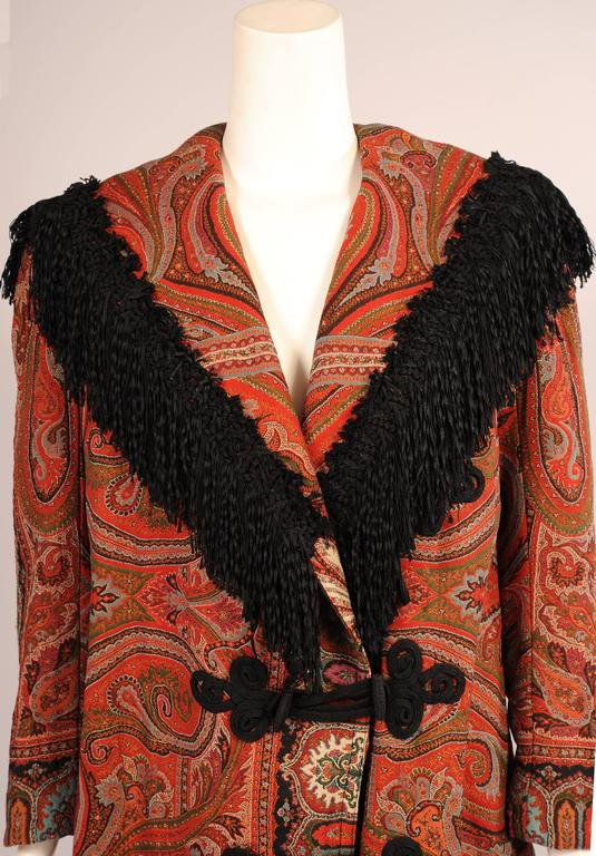 Colorful Hand Made Paisley Shawl Coat with Black Silk Fringe, circa 1910 3