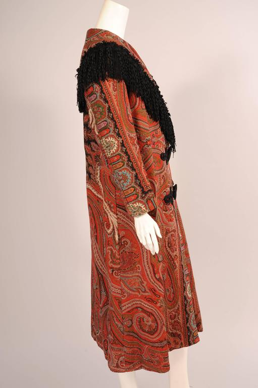 Colorful Hand Made Paisley Shawl Coat with Black Silk Fringe, circa 1910 4