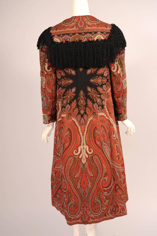 Colorful Hand Made Paisley Shawl Coat with Black Silk Fringe, circa 1910 5