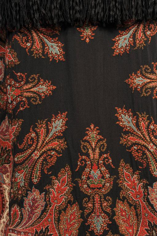 Colorful Hand Made Paisley Shawl Coat with Black Silk Fringe, circa 1910 6