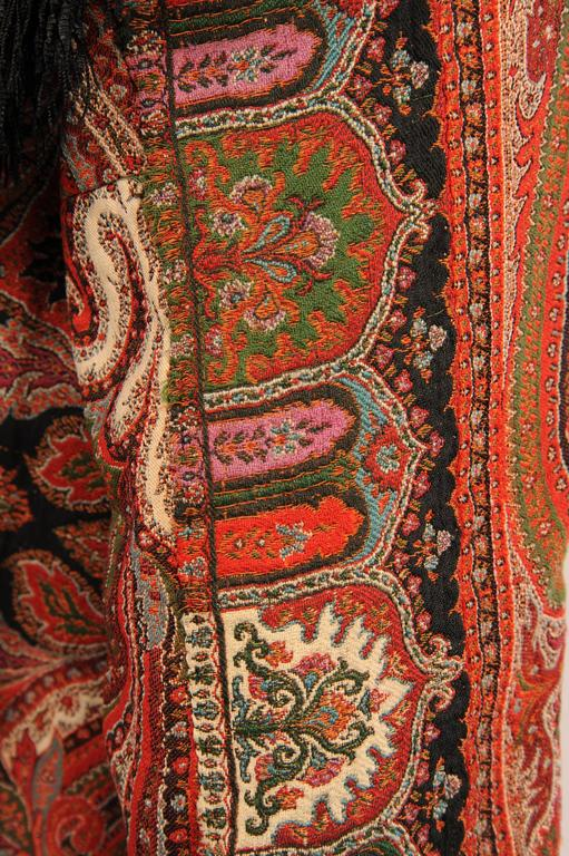 Colorful Hand Made Paisley Shawl Coat with Black Silk Fringe, circa 1910 8