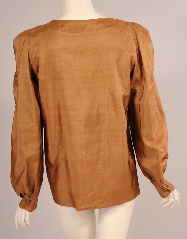 Brown Yves Saint Laurent Haute Couture Caramel Colored Silk Blouse For Sale