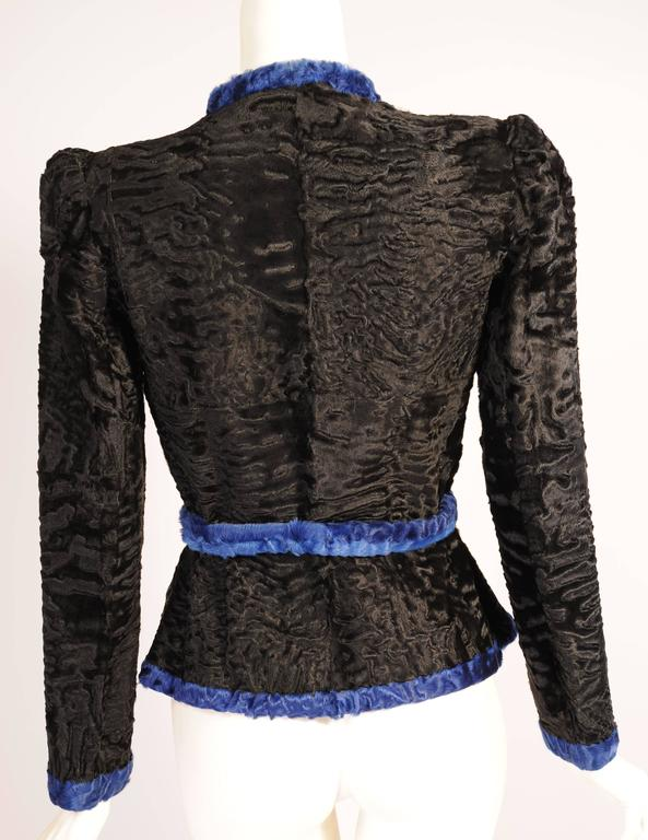 Givenchy Haute Couture Black and Blue Russian Broadtail Jacket In Excellent Condition For Sale In New Hope, PA
