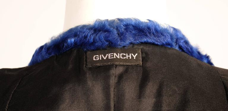 Givenchy Haute Couture Black and Blue Russian Broadtail Jacket For Sale 1