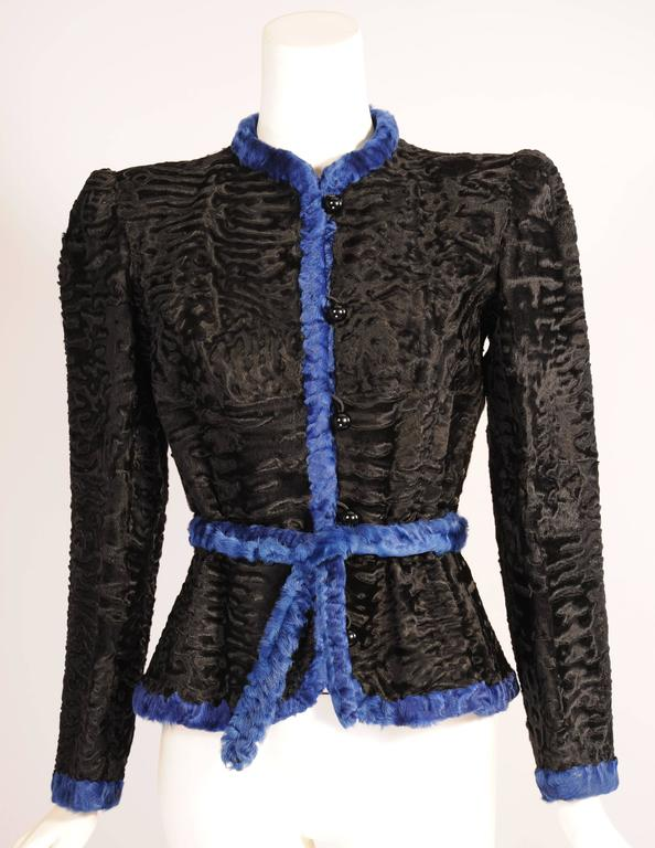 Women's Givenchy Haute Couture Black and Blue Russian Broadtail Jacket For Sale