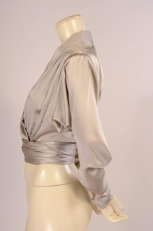 Yves Saint Laurent Haute Couture Pale Grey Silk Charmeuse Wrap Blouse 2