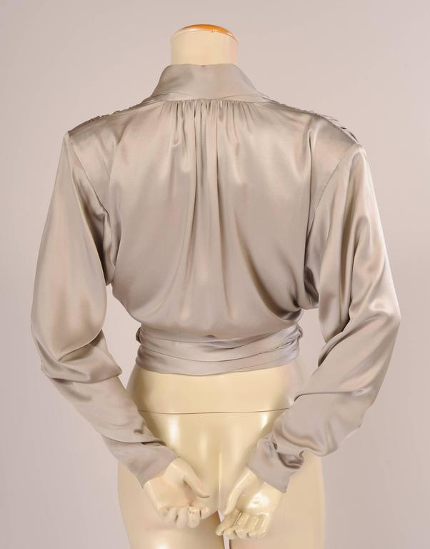 Yves Saint Laurent Haute Couture Pale Grey Silk Charmeuse Wrap Blouse 3
