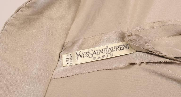 Yves Saint Laurent Haute Couture Pale Grey Silk Charmeuse Wrap Blouse 4