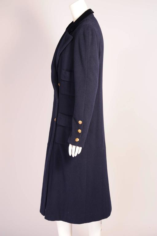 Chanel Haute Couture Mink Lined Navy Blue Coat In Excellent Condition For Sale In New Hope, PA