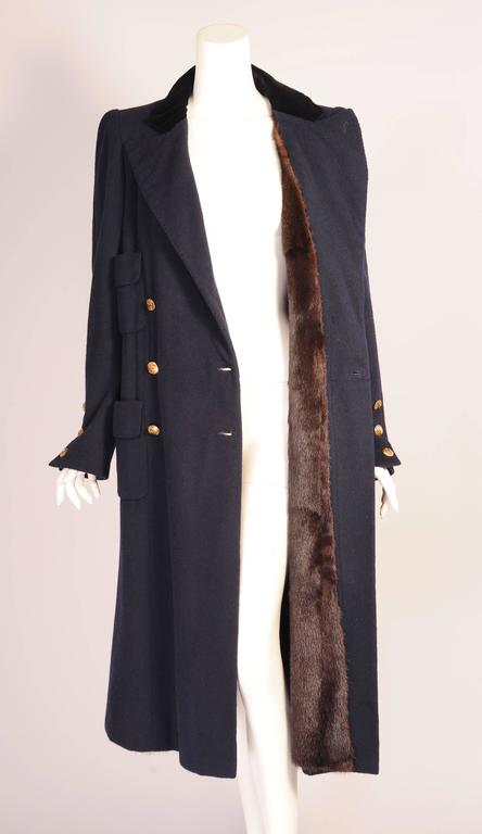 Chanel Haute Couture Mink Lined Navy Blue Coat For Sale 1