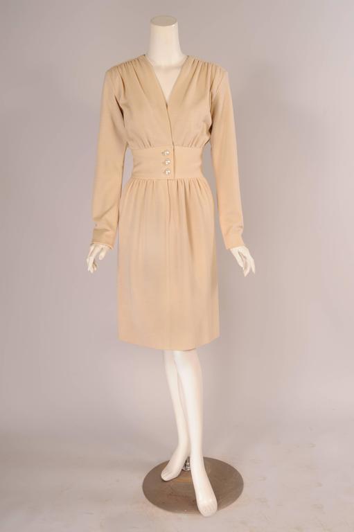 Yves Saint Laurent Haute Couture Cream Wool Dress 2