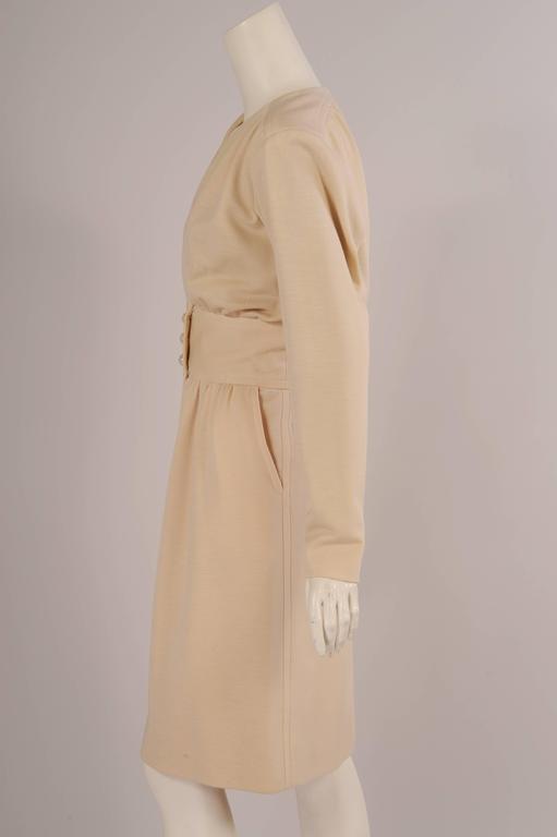 Yves Saint Laurent Haute Couture Cream Wool Dress 3