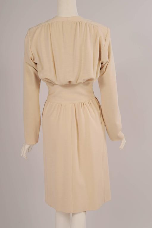 Yves Saint Laurent Haute Couture Cream Wool Dress 4
