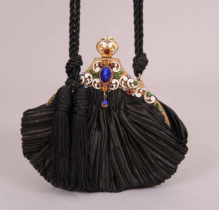 Black 1930's Vintage Jewel and Enamel Frame with New Pleated Silk Bag For Sale