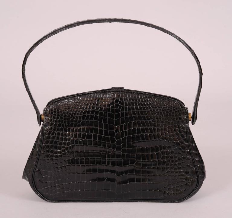 Chic Black Crocodile Evening Bag Hallmarked Sterling and Gold Clasp For Sale 1