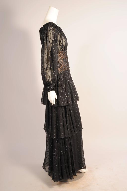 Givenchy Haute Couture Black Silk Chiffon and Lace Evening Dress In Excellent Condition For Sale In New Hope, PA