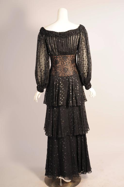 Women's Givenchy Haute Couture Black Silk Chiffon and Lace Evening Dress For Sale