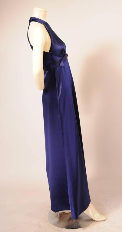 1970's Galanos Sapphire Blue Silk Evening Dress 2