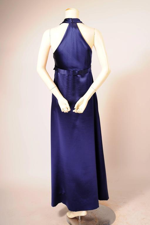 1970's Galanos Sapphire Blue Silk Evening Dress 3