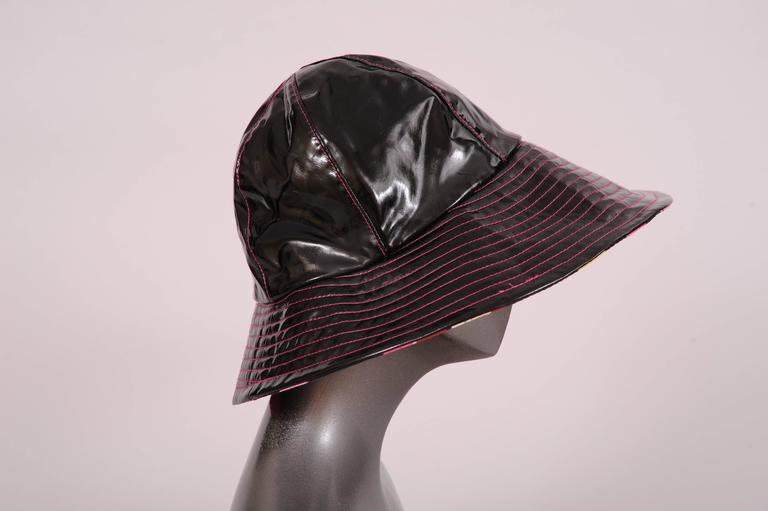 Beige Pucci Shiny Black Rain Hat Colorful Cotton Print Lining For Sale