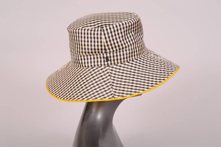 Beige Hermes Black and White Silk Hat For Sale